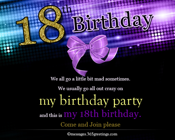 Collection Of 18th Birthday Party Invitations Wording