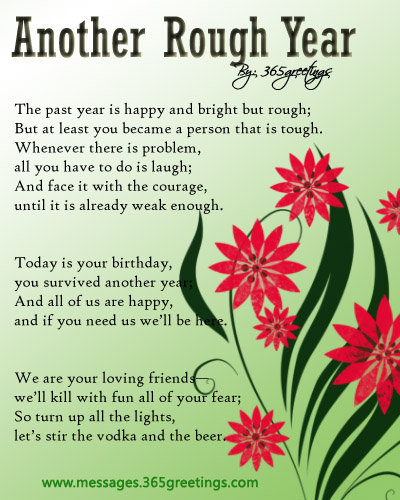 Birthday Poem for a Friend 2 – [snip msg] Another Rough Year