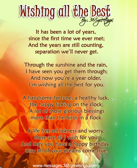 Wishing All The Best Birthday Poem