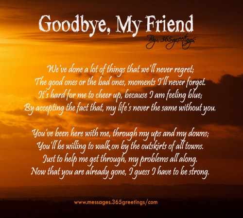 Goodbye My Friend Poem