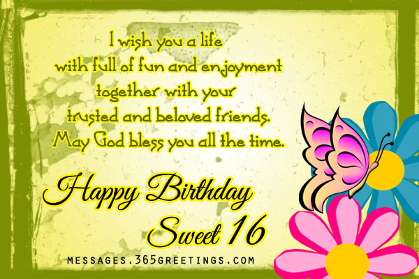 16th Birthday Wishes 365greetingscom