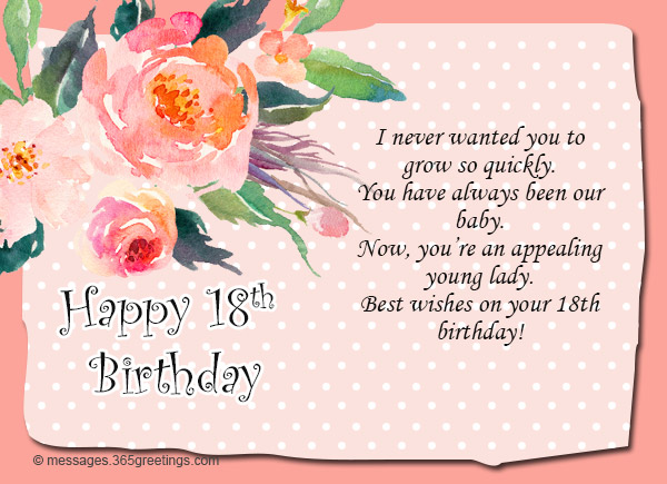 18th Birthday Wishes And Greetings 01 365greetings Com Happy 18th Birthday Wishes For