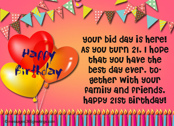21st Birthday Wishes Messages for Brother