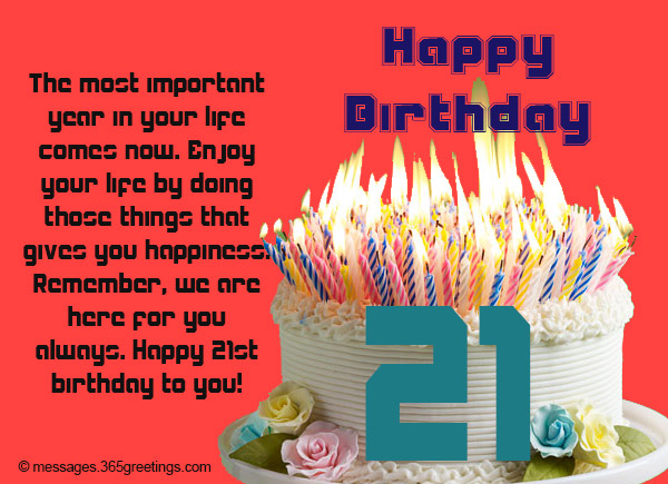 21st Birthday Wishes, Messages and Greetings - 365greetings com