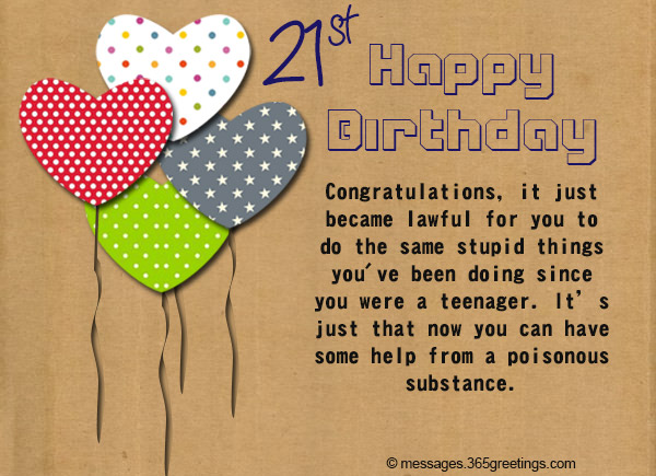 21st Birthday Wishes Messages and Greetings 365greetings – Things to Write in a Birthday Card
