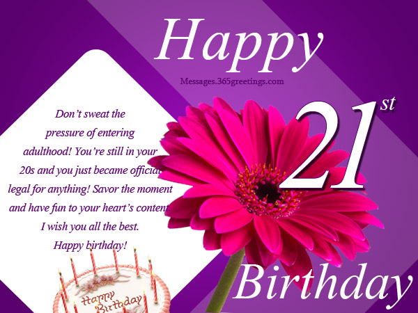 21st Birthday Wishes Messages and Greetings 365greetings – 21st Birthday Card Sayings