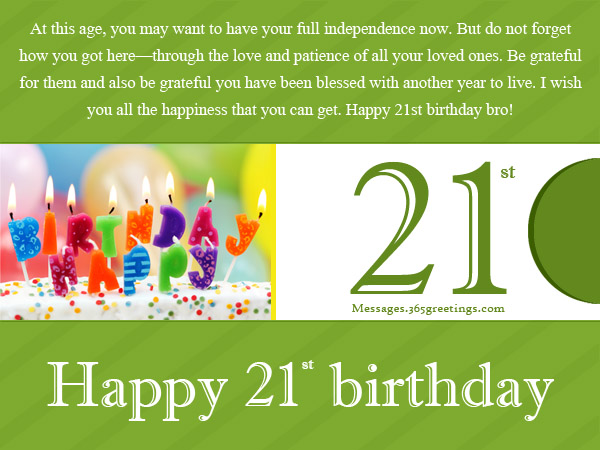 21st Birthday Wishes for Son