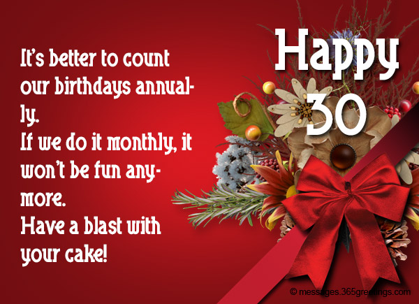 30th Birthday Wishes and Messages 365greetings – Funny 30th Birthday Greetings