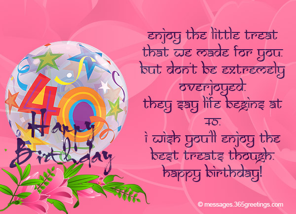 40th birthday wishes 365greetings its something not everyone can achieve hence the celebrant deserves a day where shehe can feel grand about themselves m4hsunfo