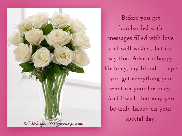 Advance birthday wishes messages and greetings 365greetings advance birthday wishes for friends m4hsunfo