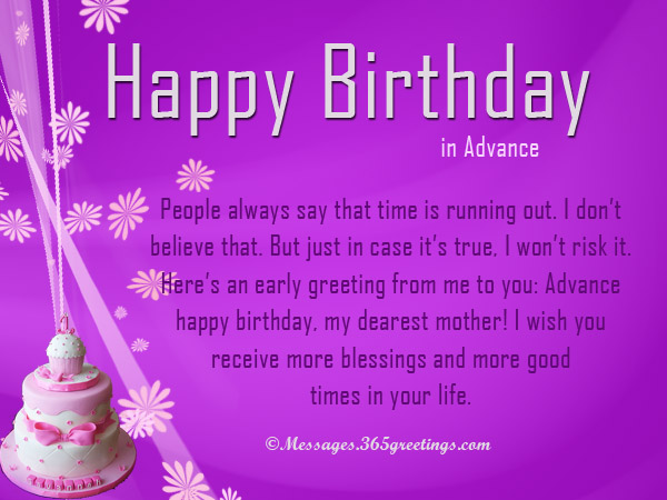 Advance birthday wishes messages and greetings 365greetings advance birthday wishes for parents m4hsunfo