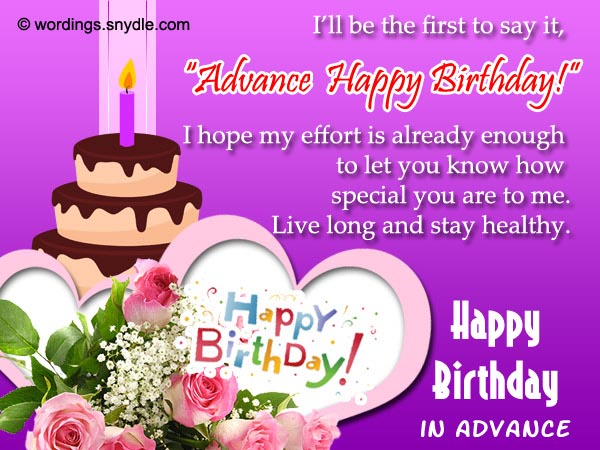 Advance Birthday Wishes, Messages and Greetings   365greetings.com