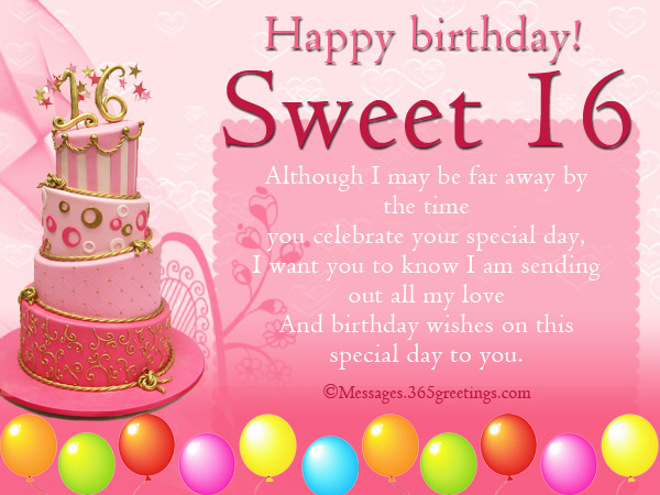 Sweet 16th Birthday Wishes Messages For Friends
