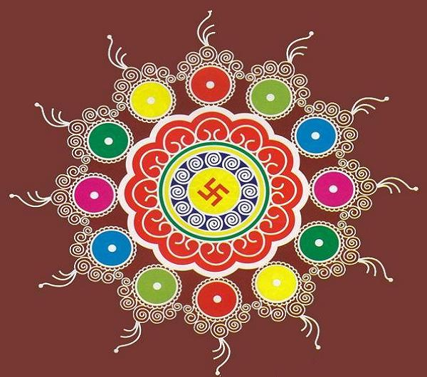 Beautiful Rangoli Designs For New Year With Dots
