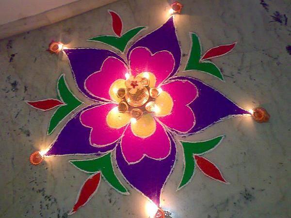 Pics Photos Flower Kolam Rangoli Simple