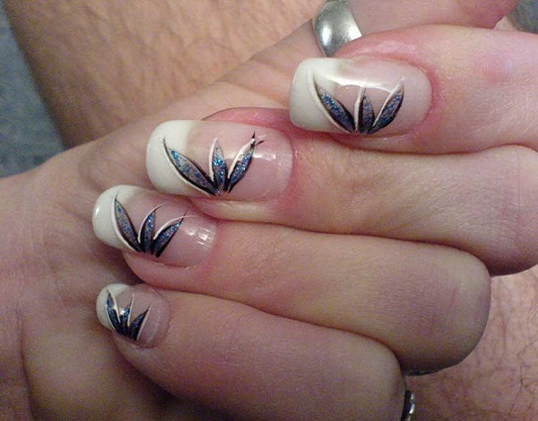 This Nail Art Features Transparent Background Coating And Small Leaf Design On The Side I Think Using Right Kit Loads Of Patience