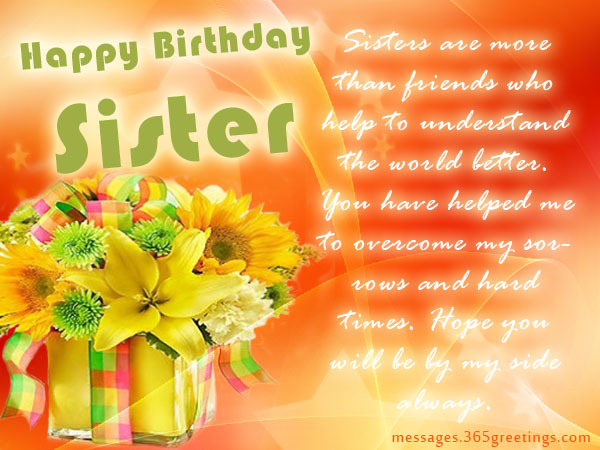 Birthday wishes for sister that warm the heart 365greetings birthday card messages for sister m4hsunfo