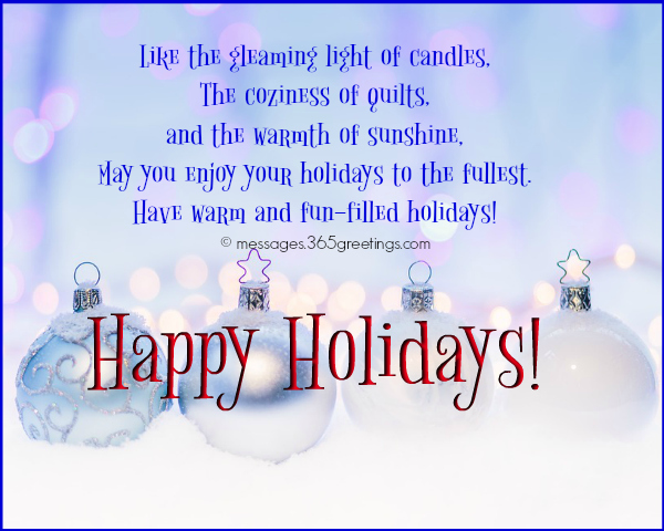 Happy holiday wishes greetings and messages 365greetings holiday wishes for cards the festive season is here again good cheer between all men christmas lights twinkle in the night sky m4hsunfo
