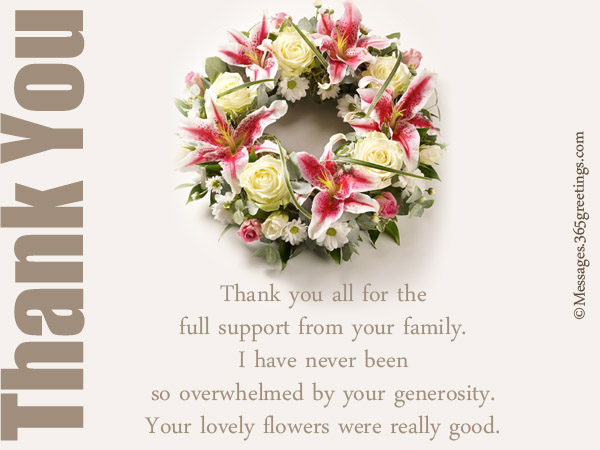 Funeral Thank You Notes 365greetings – Funeral Thank You Note