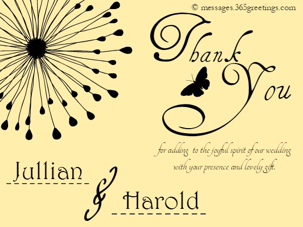Thank You Message Wedding Gift: Wedding Thank You Messages