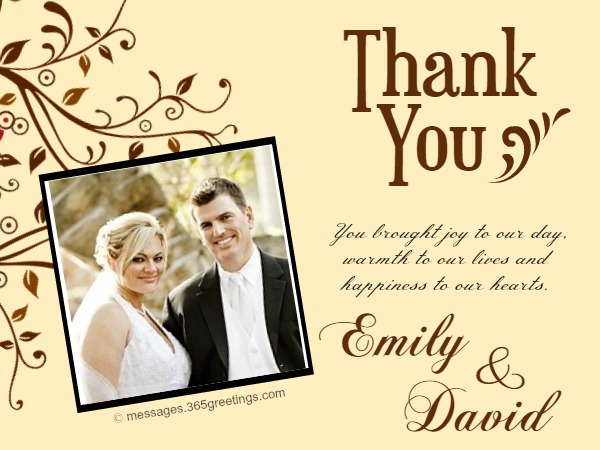 Wedding Thank You Notes - Messages, Greetings and Wishes