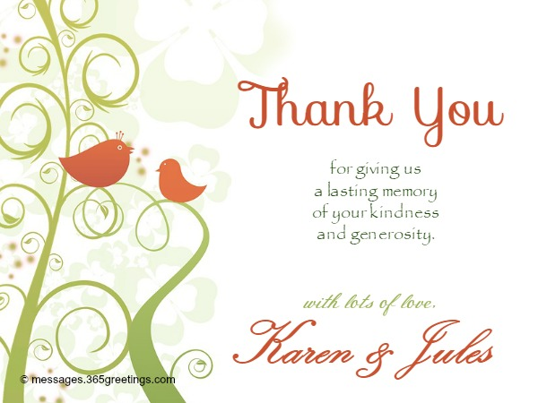 Wedding Thank You Messages 365greetings – Thank You Note for Gift