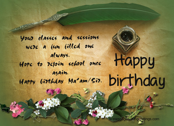 Birthday wishes for teacher 365greetings today i can truly understand meaning of many things because all that is possible as you gave me wings happy birthday sir m4hsunfo
