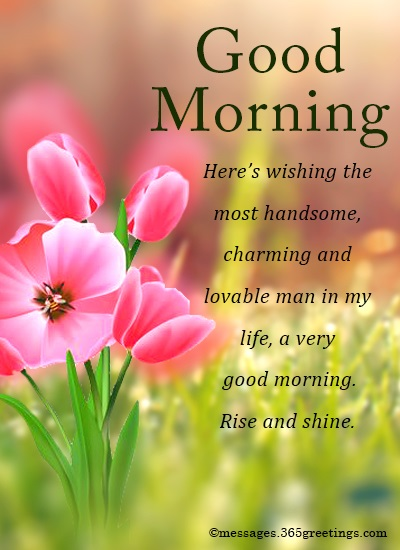 Good morning messages for him 365greetings heres wishing the most handsome charming and lovable man in my life a very good morning rise and shine m4hsunfo