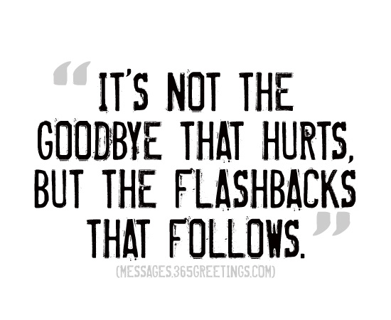 its not the goodbye that hurts but the flashbacks that follow