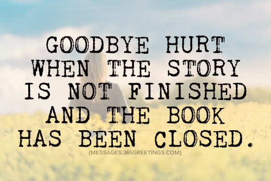 goodbye hurt when the story is not finished and the book has been closed